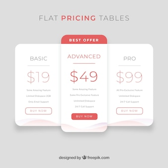Conceito da página de destino com tabelas de preços fixas