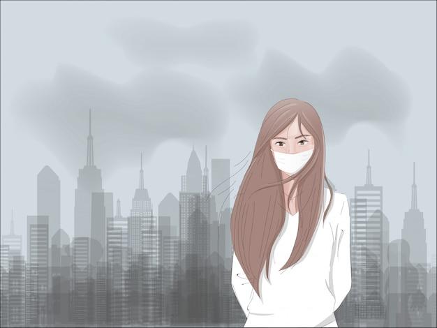 Conceito da poluição do ar com fábrica e dióxido de carbono e uma máscara vestindo da menina triste.
