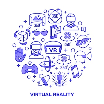 Conceito da realidade virtual com os elementos de cor isolados.