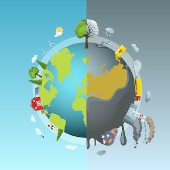 Conceito da rodada de poluição ambiental