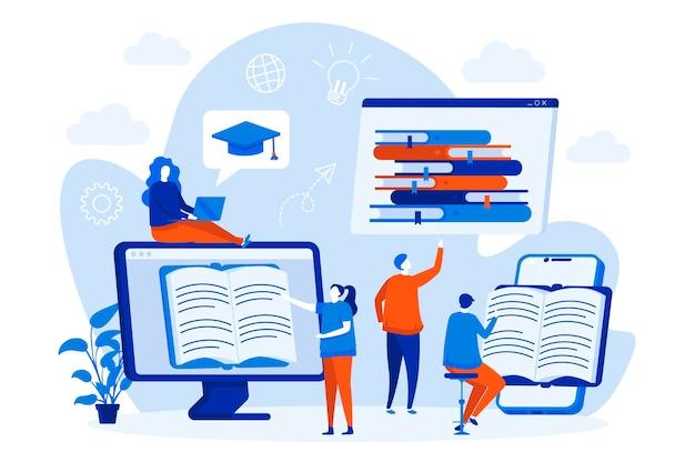 Conceito da web de leitura online com ilustração de personagens de pessoas