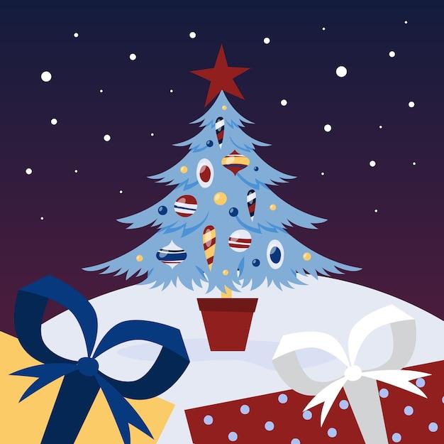 Conceito de 2019. decoração criativa e celebração. feliz natal e feliz ano novo. comemorando com presentes e champanhe. ilustração
