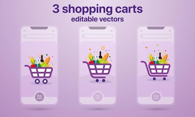 Conceito de 3 carrinhos de compras para aplicativos móveis