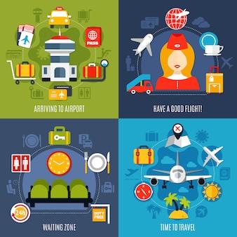 Conceito de 4 ícones de viagens aéreas