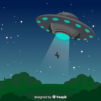 Conceito de abdução de ufo clássico com design plano