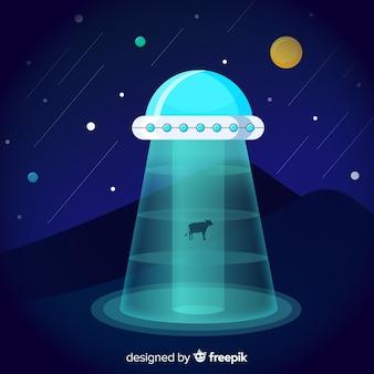 Conceito de abdução de ufo moderno com design plano
