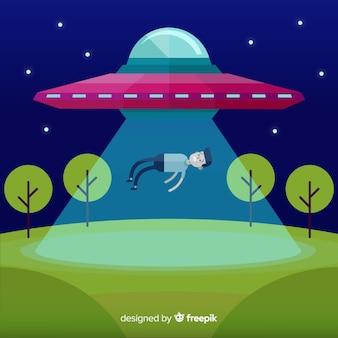 Conceito de abdução ufo com design plano