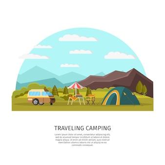 Conceito de acampamento colorido Vetor grátis