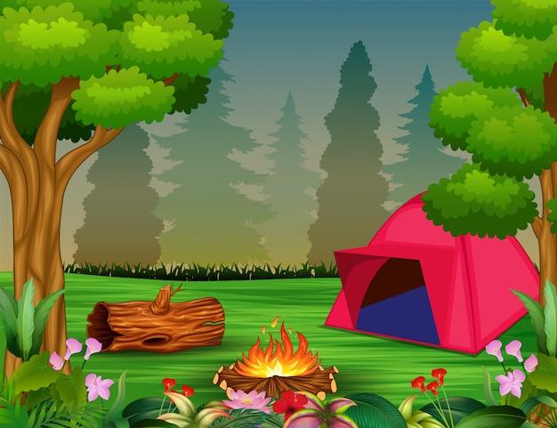 Conceito de acampamento de floresta com tenda rosa