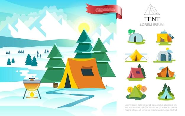Conceito de acampamento de inverno plano com churrasqueira perto da barraca do turista na paisagem de árvores e montanhas