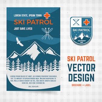 Conceito de acampamento de patrulha de esqui do modelo de panfleto