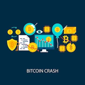 Conceito de acidente de bitcoin. ilustração em vetor design cartaz. conjunto de objetos coloridos de criptomoeda.
