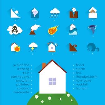Conceito de acidente de catástrofe natural com conjunto de ícones de perigo e ilustração vetorial de casa