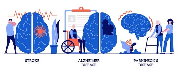 Conceito de acidente vascular cerebral, doença de alzheimer, doença de parkinson com pessoas minúsculas. conjunto de distúrbios neurológicos. sistema nervoso e problemas cerebrais, sintomas e resposta imunológica, metáfora do trauma.