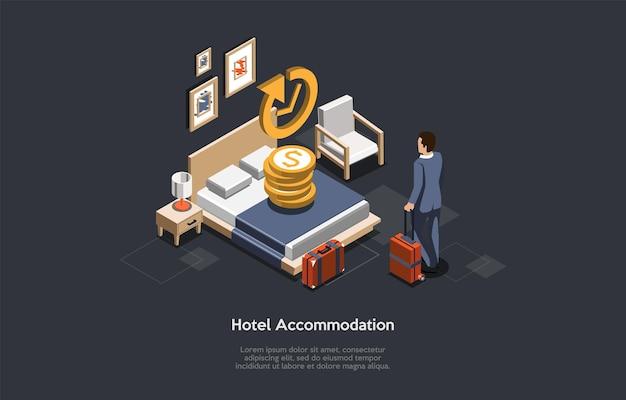 Conceito de acomodação de hotel. empresário faz check-in ou check-out em um hotel.