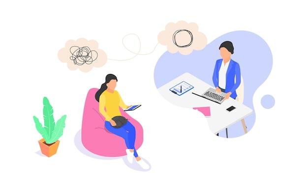 Conceito de aconselhamento psicológico online. a mulher dá apoio psicológico à mulher. ilustração isométrica em vetor plana isolada no fundo branco.