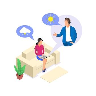 Conceito de aconselhamento psicológico online. a mulher presta assistência psicológica à mulher. ilustração isométrica em vetor plana isolada no fundo branco.