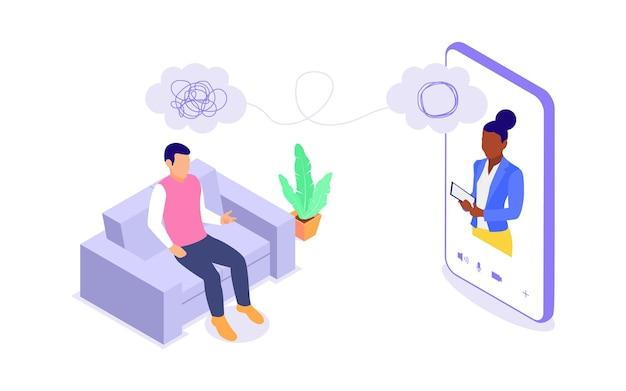 Conceito de aconselhamento psicológico online. uma mulher oferece assistência psicológica a um homem. ilustração isométrica em vetor plana isolada no fundo branco.