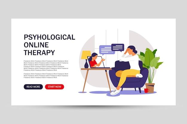 Conceito de aconselhamento psicológico. página de destino para a web. serviço de atendimento psicológico. ilustração vetorial. apartamento.