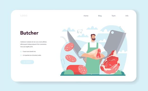 Conceito de açougueiro ou carne fresca e produtos semi-acabados