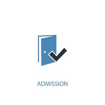 Conceito de admissão 2 ícone colorido. ilustração do elemento azul simples. projeto de símbolo de conceito de admissão. pode ser usado para ui / ux da web e móvel