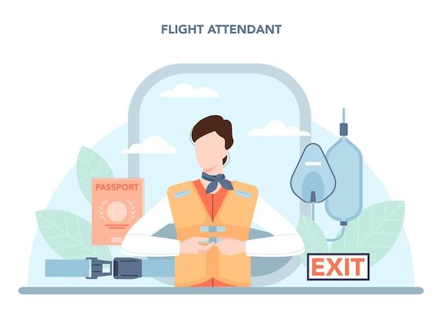 Conceito de aeromoça. os comissários de bordo ajudam os passageiros no avião