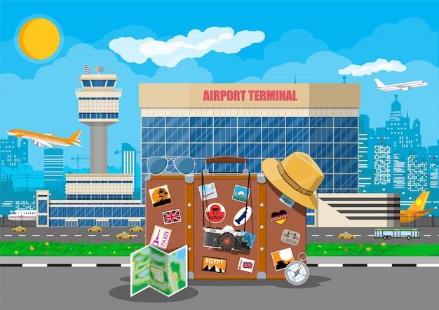 Conceito de aeroporto internacional.