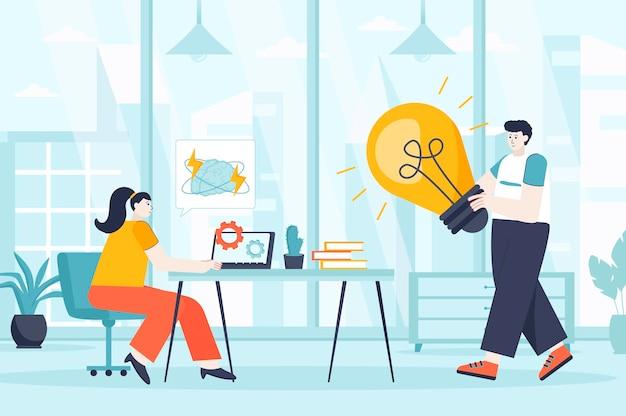 Conceito de agência criativa em ilustração de design plano de personagens de pessoas para página de destino