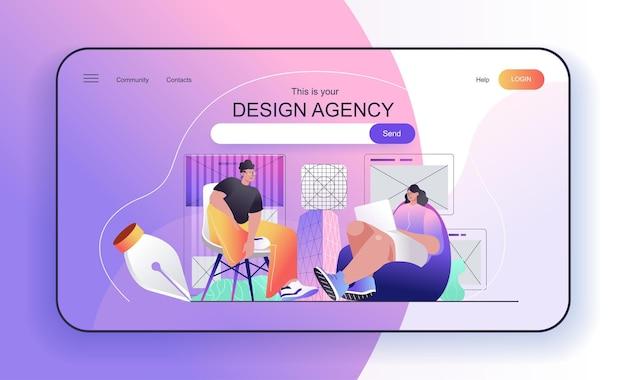Conceito de agência de design para designers de página de destino criam layouts de página com conteúdo