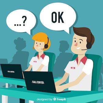 Conceito de agente de call center em design plano