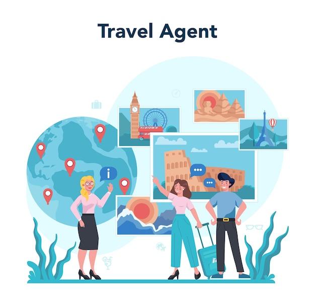Conceito de agente de viagens. trabalhador de escritório vendendo excursão, cruzeiro, via aérea