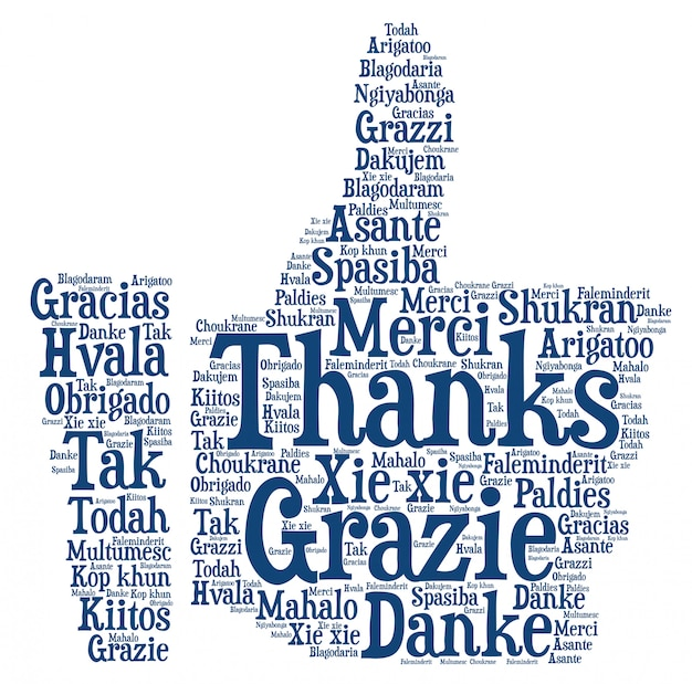 Conceito de agradecimento da nuvem de palavras, forma de polegar para cima.