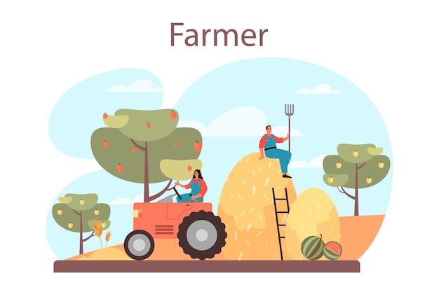 Conceito de agricultor. trabalhador de fazenda no campo, regando plantas e alimentando animais. vista do campo de verão, conceito de agricultura. viver na aldeia. ilustração plana isolada