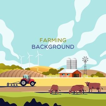Conceito de agricultura, agricultura e pecuária. paisagem rural com espaço de cópia para ilustração de texto