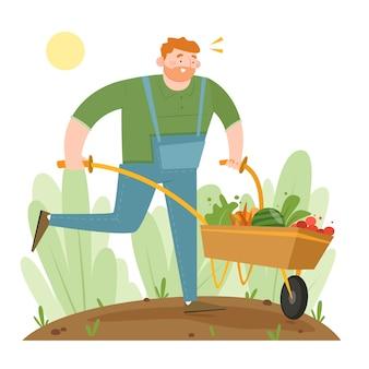 Conceito de agricultura biológica com homem segurando o carrinho de mão