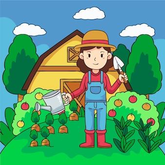 Conceito de agricultura biológica com mulher e maçãs