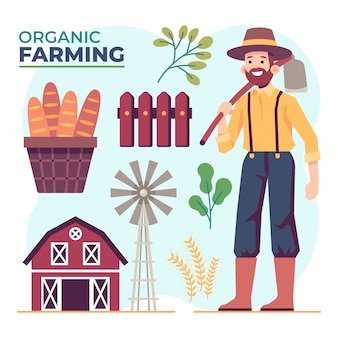 Conceito de agricultura biológica com objetos de homem e fazenda