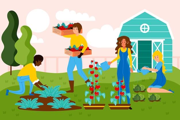 Conceito de agricultura biológica com pessoas e culturas vegetais