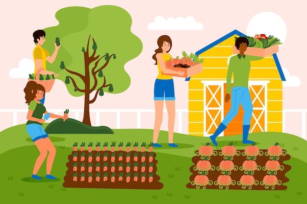 Conceito de agricultura biológica com pessoas e culturas