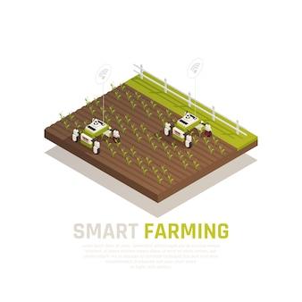 Conceito de agricultura inteligente com máquinas agrícolas e ilustração isométrica de colheita