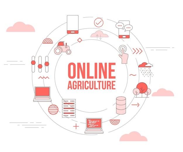 Conceito de agricultura online com banner de modelo de conjunto de ícones e ilustração em vetor de forma redonda de círculo