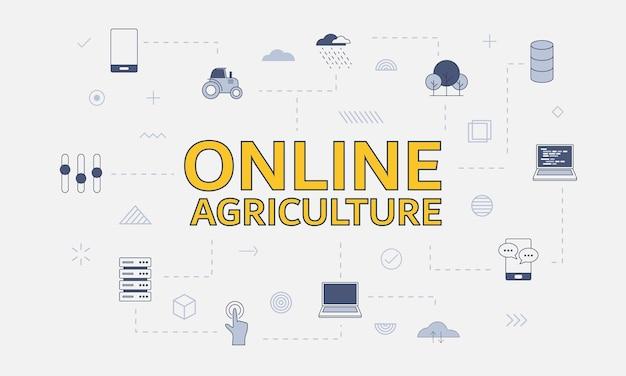 Conceito de agricultura online com conjunto de ícones com uma palavra grande ou texto no centro