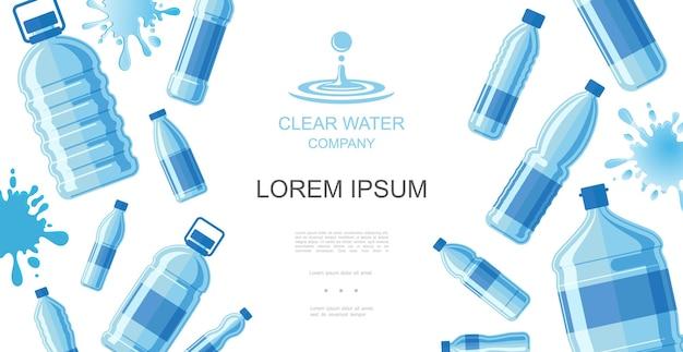 Conceito de água potável plana com garrafas plásticas de água pura e respingos de líquidos