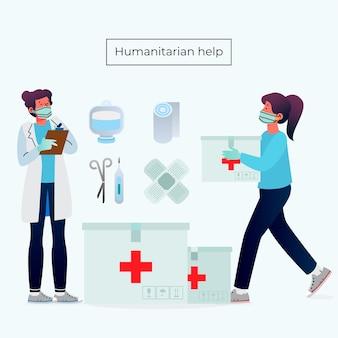 Conceito de ajuda humanitária com equipe médica
