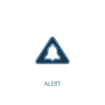 Conceito de alerta 2 ícone colorido. ilustração do elemento azul simples. design de símbolo de conceito de alerta. pode ser usado para ui / ux da web e móvel