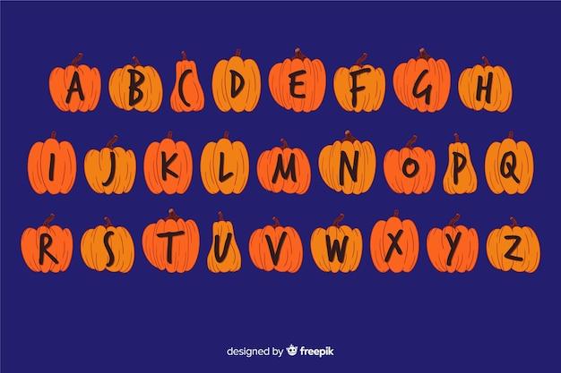 Conceito de alfabeto abóbora de halloween