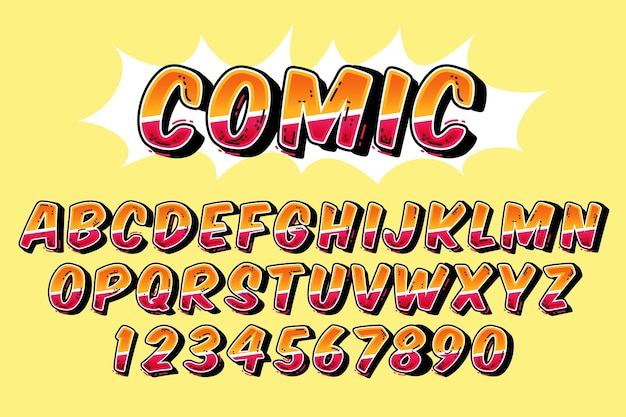 Conceito de alfabeto em quadrinhos 3d