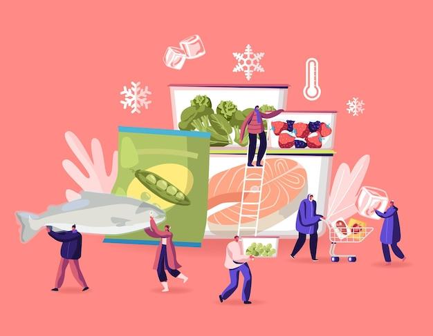 Conceito de alimentos congelados. ilustração plana dos desenhos animados