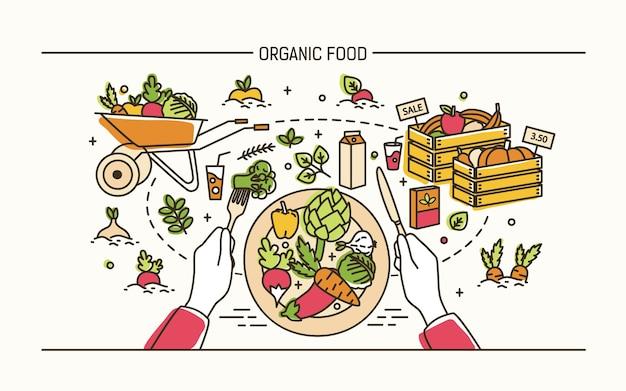 Conceito de alimentos orgânicos. mãos segurando um garfo, uma faca e um prato com uma refeição saudável rodeada de frutas, legumes, carrinho de mão e engradados