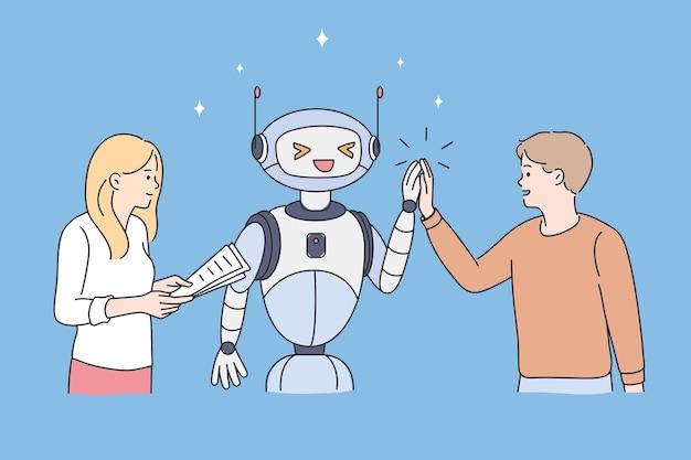 Conceito de alta tecnologia e robô. casal jovem, homem e mulher em pé, cumprimentando, acenando com o robô sobre ilustração vetorial de fundo azul